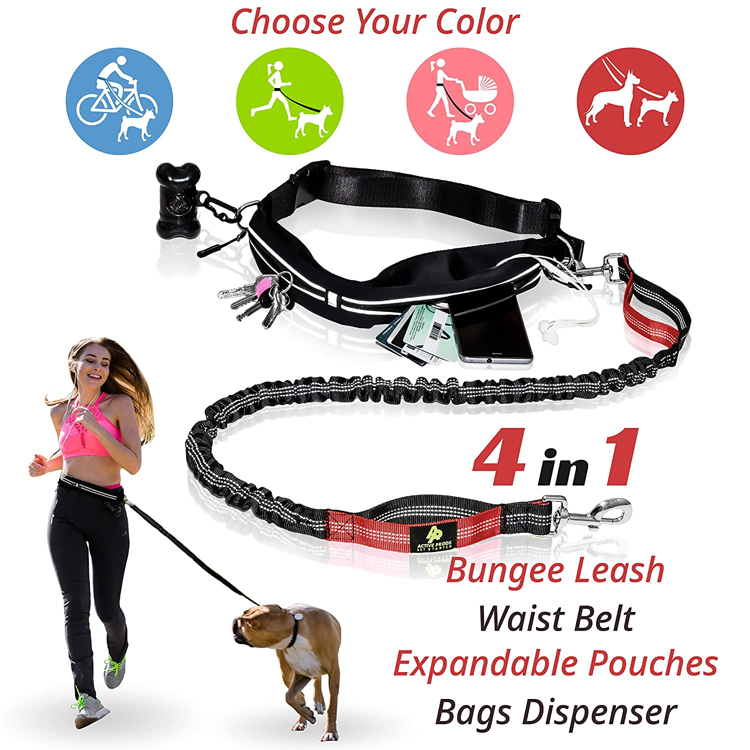 PREMIUM Hands Free Dog Leash | Bungee Dog Leash for Walking & Running with Small, Medium or Large Dogs | Reflective Waist Belt for Phone, Keys and Cards |BONUS Collar Bag Dispenser |Great GIFT Active Prods