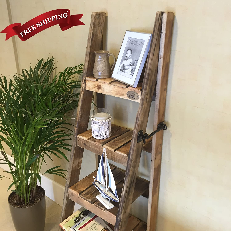 Vintage Apple Crates Ladder Shelves Handmade In Kent Using Reclaimed