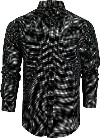 Process Black - Camisa casual - Lunares - Manga Larga - para hombre: Amazon.es: Ropa y accesorios