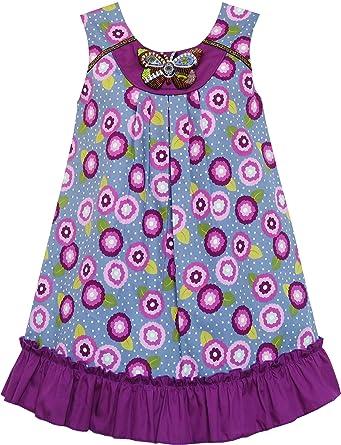 fc71c085b9b44 Sunny Fashion Robe Fille Coton Floral Imprimer Perlé Papillon Pourpre   Amazon.fr  Vêtements et accessoires