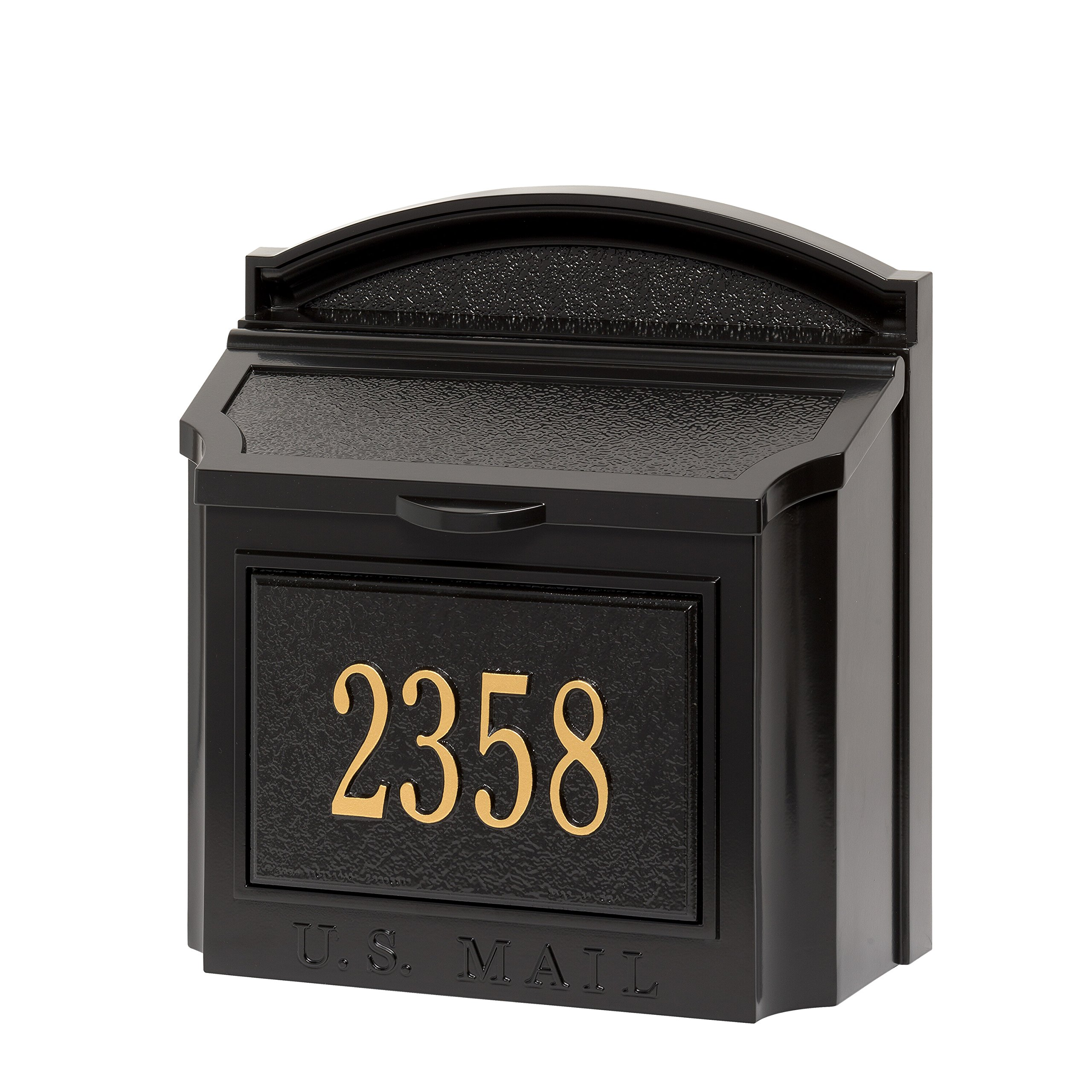 Whitehall Products Wall Mailbox Package. Black Mailbox with Personalized Insert!