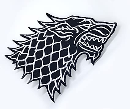2019 game of thrones stark direwolf embroidered iron on badge.