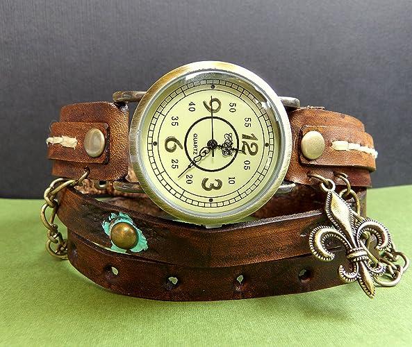 a89e813dd Amazon.com: Fleur-de-lis watch, Leather Wrap Watch, Brown leather Watch,  Wrist Watch, Vintage Watch, Leather Bracelet, Womens Gift: Handmade