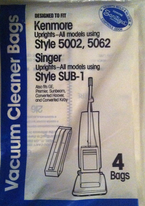 Kenmore真空バッグ5002、5062と歌手スタイルサブ1パックof 4 B005JPZZ6A