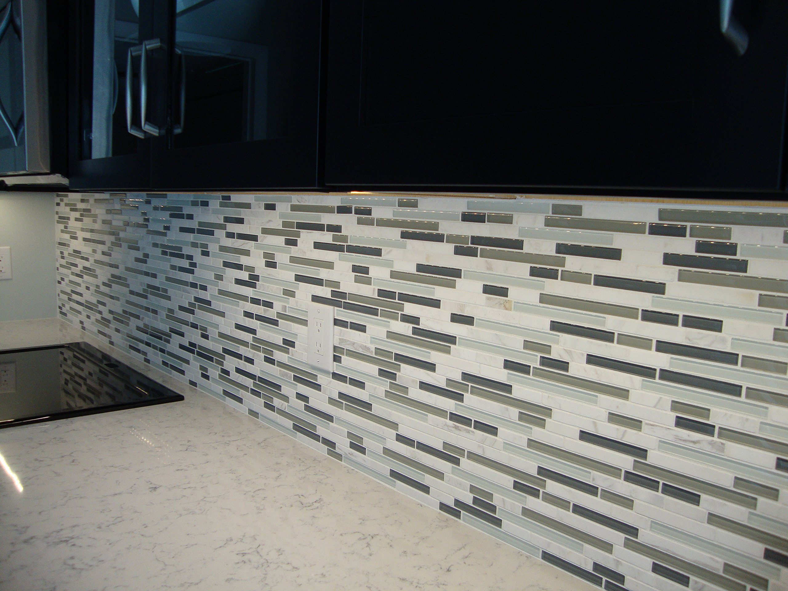 10 Sq Ft - Bliss Iceland Marble and Glass Linear Mosaic Tiles for Kitchen Backsplash or Bathroom Walls by Rocky Point Tile