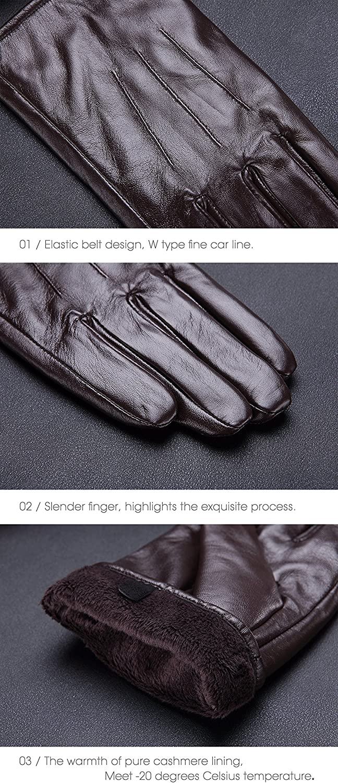 schermo tattile//dattilografare//guidare disponibile da genuina nappa pelle con foderata in peluche e finitura a maglia Harrms Guanti Pelle Uomo inverno