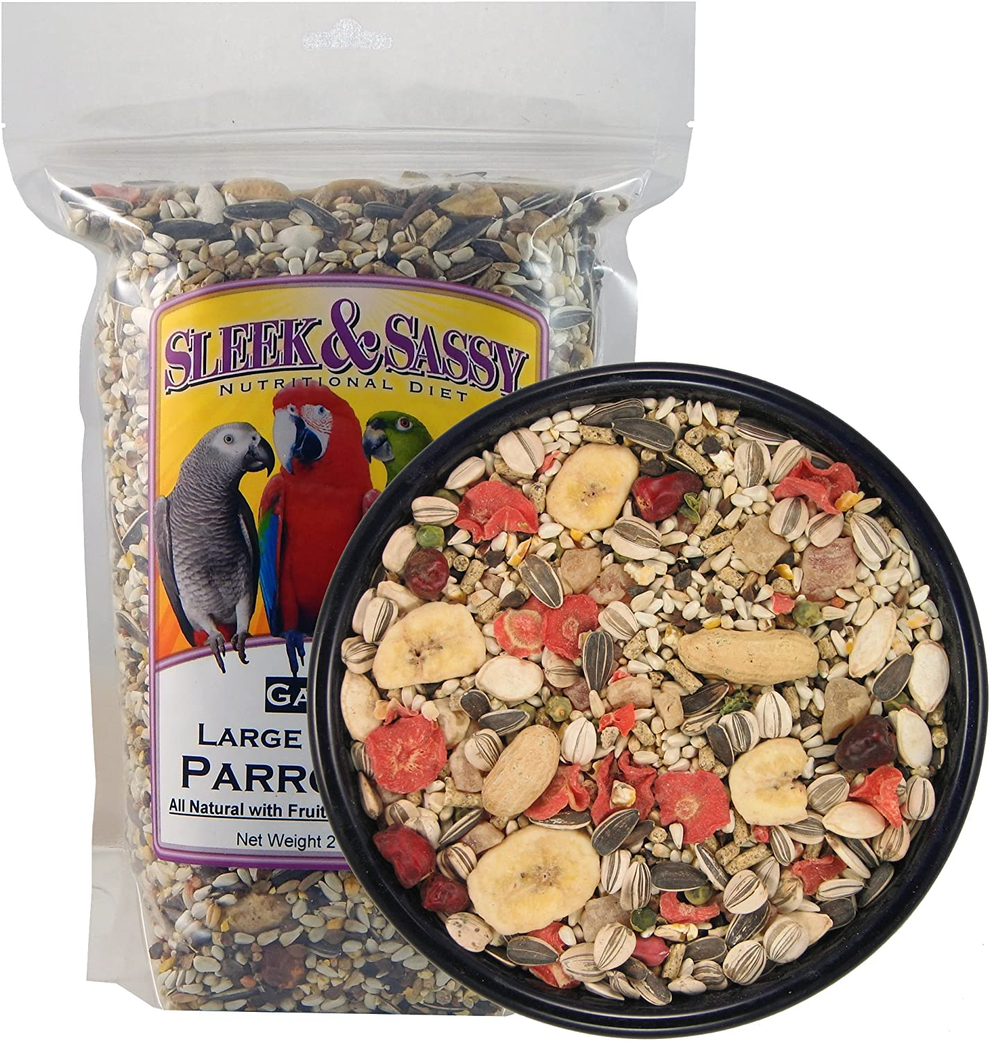 SLEEK & SASSY NUTRITIONAL DIET Garden Large Hookbill Parrot Food for Large Conures, Amazons, African Greys, Cockatoos, Pionus-Parrots & Small Macaws (2 lbs.)