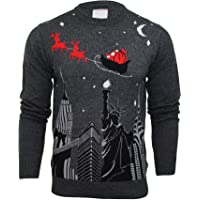 Mens Merry Xmas Christmas Jumper - New York Santa Sleigh Scene by Xact