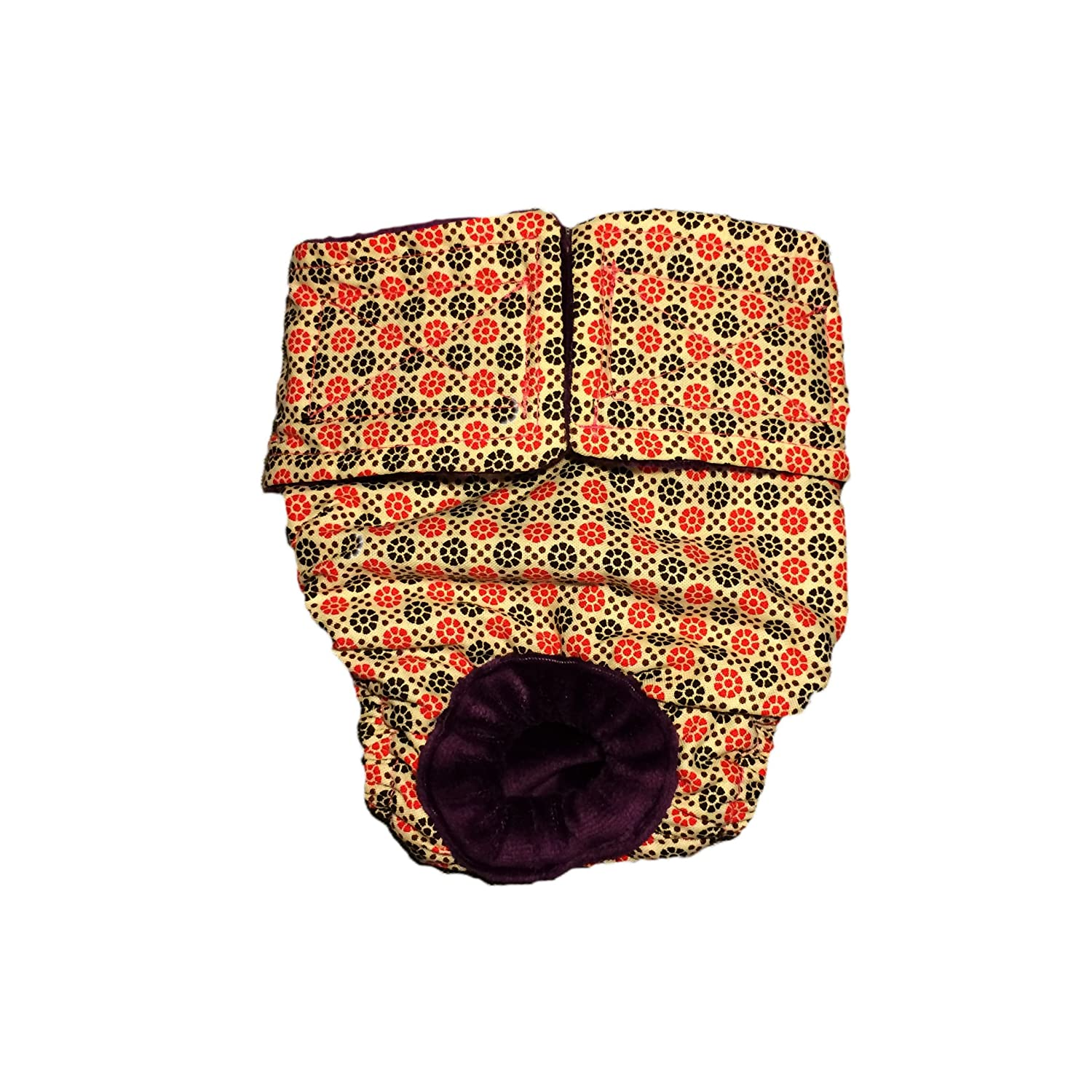 free shipping Cat Diapers - Made in USA - Red and Brown Flower Washable Cat Diaper for Piddling, Spraying or Incontinent Cats