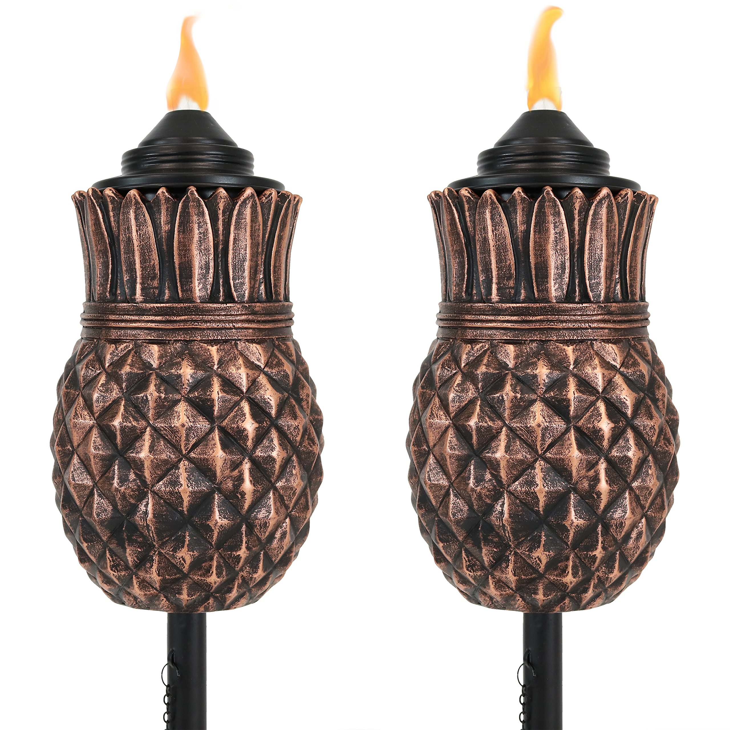 Sunnydaze Pineapple Torch, Outdoor Patio and Lawn Citronella Torches, 23- to 65-Inch Adjustable Height, 3-in-1, Set of 2
