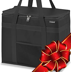 2 Pack Insulated Grocery Bags XL, 90LBS Reusable Food Delivery Tote Bag, Black
