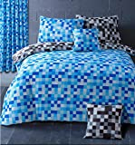 HBS Pixel Bedding Set Double Bed Duvet / Quilt Cover Bedding Set Pixel Squares Reversible Check Bedding Duvet Cover with Pillowcases Blue & Grey