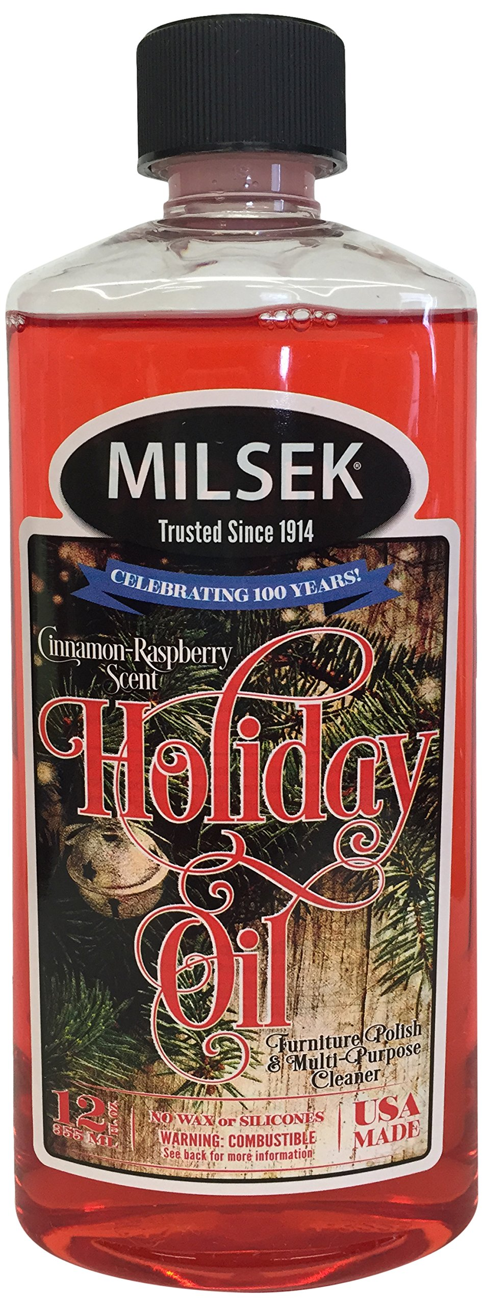 Milsek Furniture Polish and Cleaner with Cinnamon-Raspberry Scent (Holiday Oil), 12-Ounce, Pack of 12, HO-12-12PL by Milsek (Image #1)