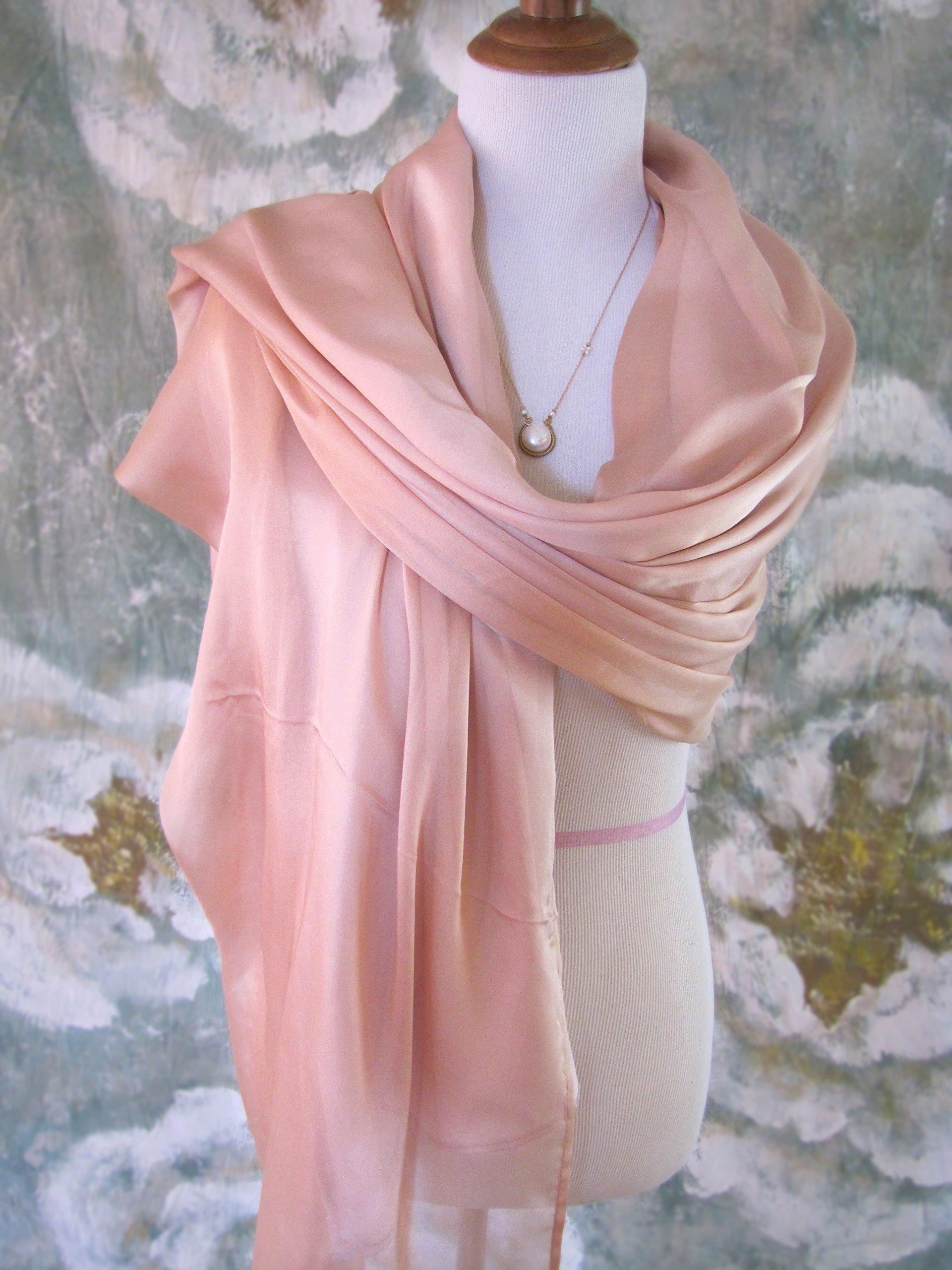 Silk Evening Wrap, Silk Shawl, Two-tone Peach and Lavender, Silk Scarf, Evening Shawl, Handmade