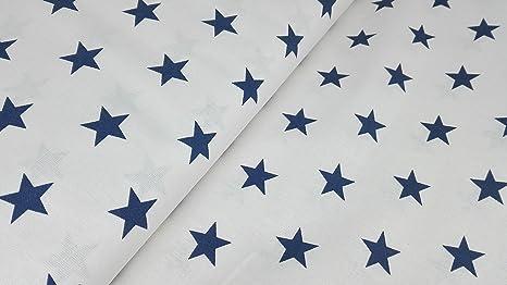 Tessuto Di Cotone Con Disegno Di Stelle Blu Su Sfondo Bianco