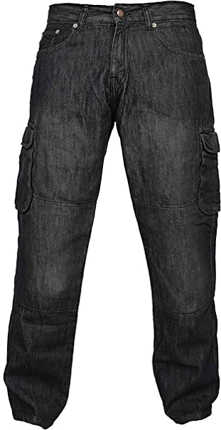 Black, W36-L30 Mens Motorcycle Motorbike Protective Cargo Trouser Jeans Aramid Protection Lining With Free Padding and Leather Belt