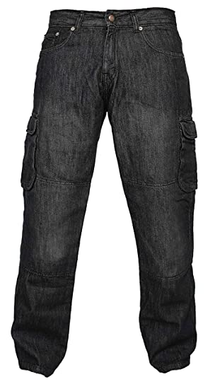 Newfacelook Hombres Denim pantalones vaqueros Moto de carga con protección de aramida W32-L34