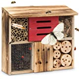 Relaxdays Fired Insect Hotel 29 x 33 x 13.5 cm Bee Butterfly Hotel of Natural Materials Shelter for Bugs, Bees, Wasps, Butterflies Insect Wood Insect House with Flat Roof, Natural Colour