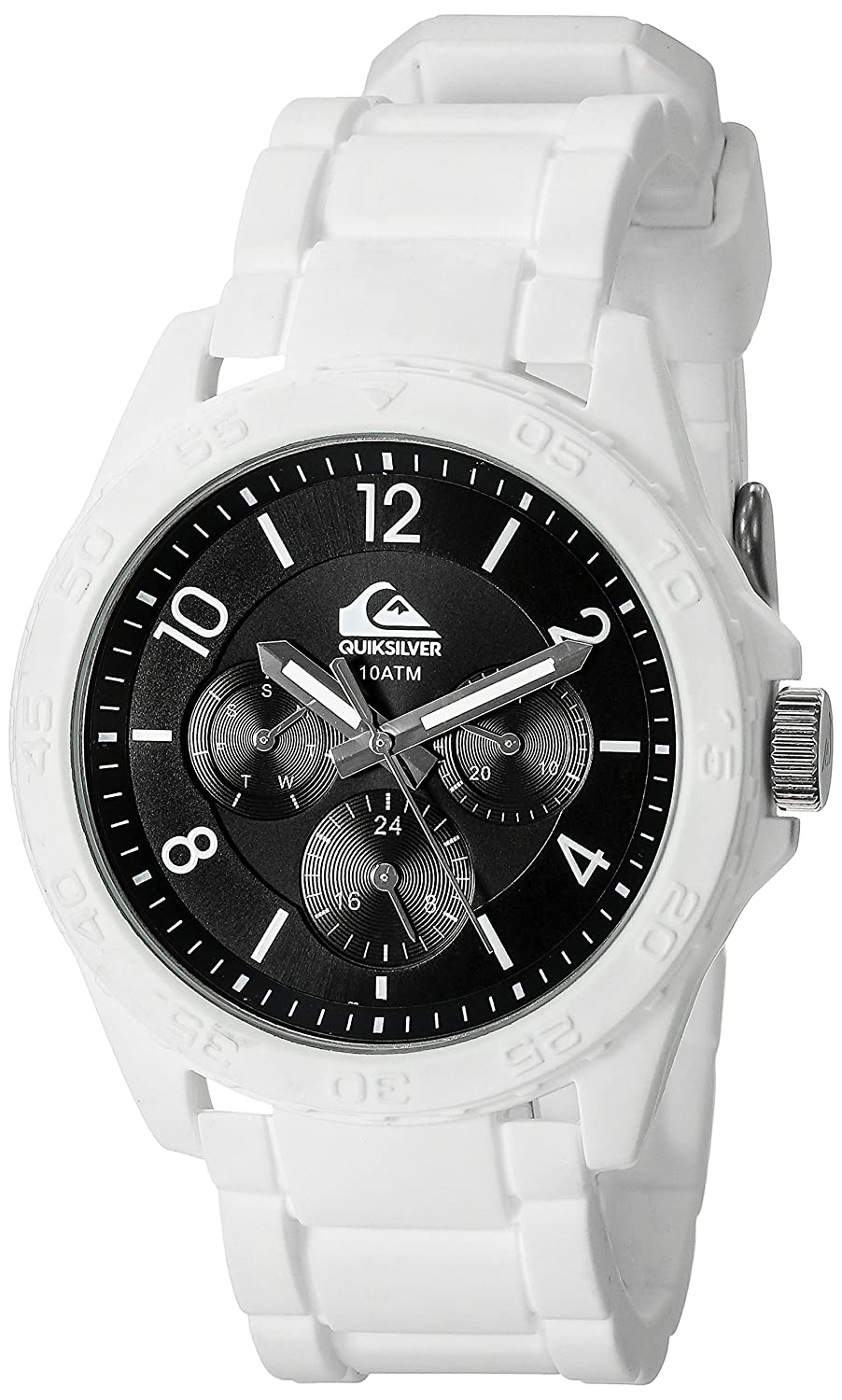 Amazon.com: Quiksilver Mens QS/1016BKWT THE SUMMIT Multi-Function White Silicone Strap Watch: Watches