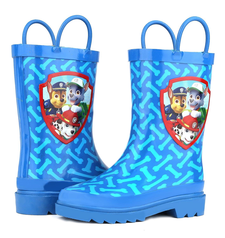 Nickelodeon Kids Boys Paw Patrol Character Printed Waterproof Easy-On Rubber Rain Boots Toddler//Little Kids