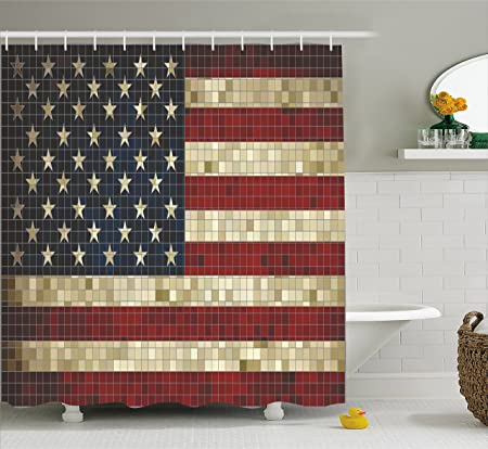 American Flag Shower Curtain by Ambesonne, Abstract Mosaic Flag of ...