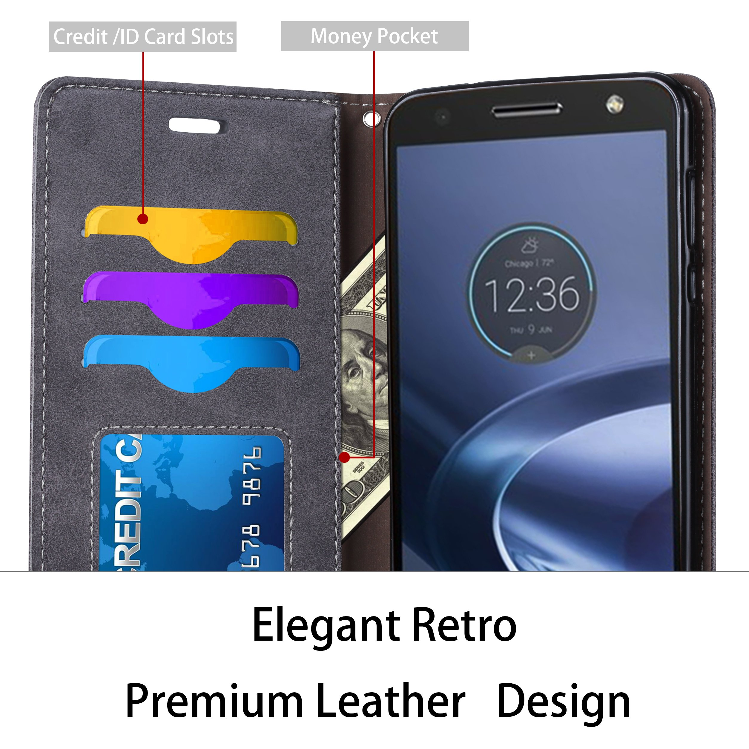 Moto Z2 Force Case, Ferlinso Elegant Retro Leather with ID Credit Card Slot Holder Flip Cover Stand Magnetic Closure Case for Moto Z2 Force/Moto Z Force 2nd Generation-Gray