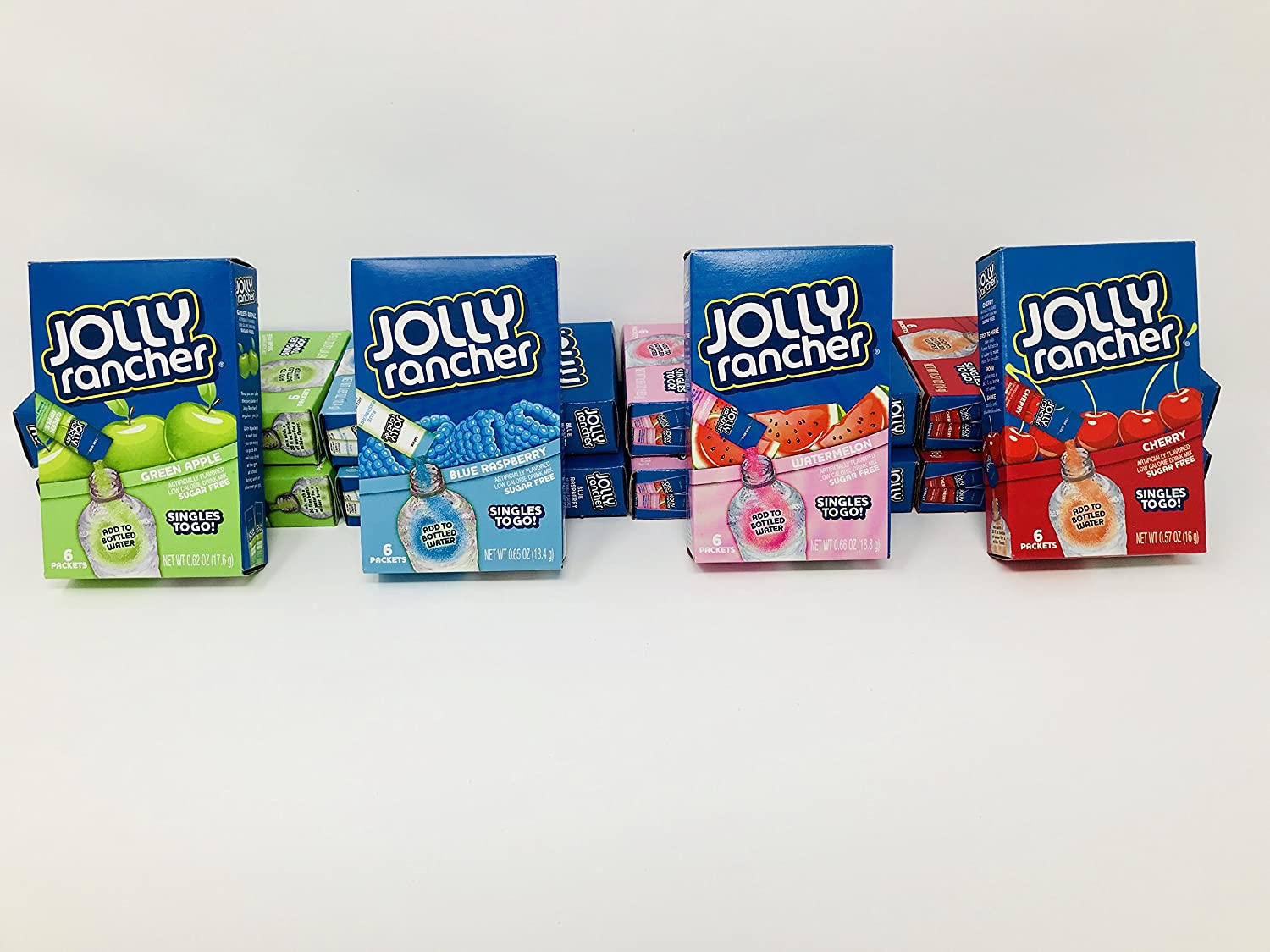 Singles to Go! Jolly Rancher 4-Flavor Mega-Pack with 12 Boxes (72 total servings)! Contains 3 Boxes (18 servings) of each flavor: Blue Raspberry, Cherry, Green Apple, Watermelon