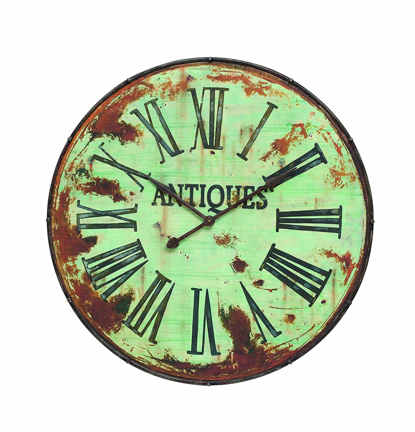 Amazon creative co op country round metal wall clock 41 inch amazon creative co op country round metal wall clock 41 inch green home kitchen amipublicfo Images