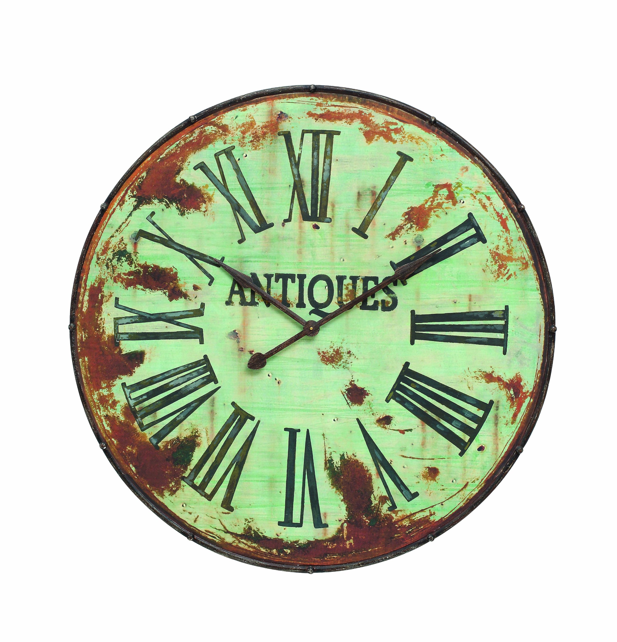 Creative Co-Op Country Round Metal Wall Clock, 41-Inch, Green