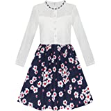 Sunny Fashion Girls Dress Lace Pearl Plum Blossom Elegant Princess Dress Size 7-14 Years