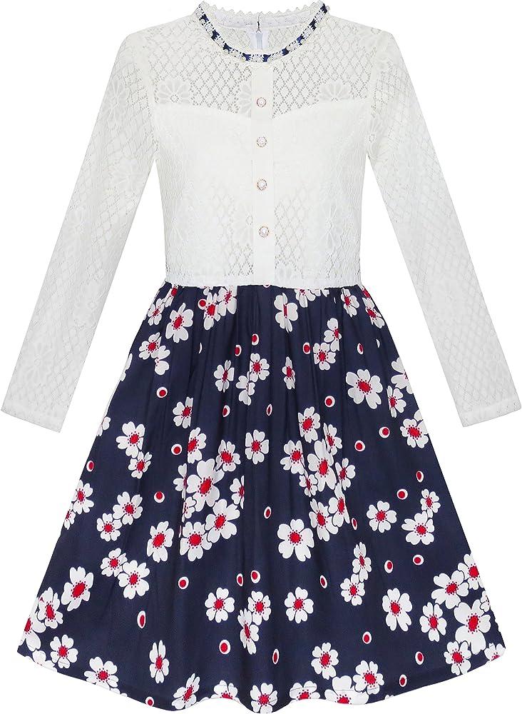 Vestido para niña Encaje Perla Ciruela Flor Elegante Princesa 7 ...