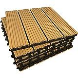 36piastrelle a incastro per pavimenti, in legno composito–teak a scatto per patio, giardino, balcone, vasca idromassaggio, con pannelli quadrati da 30 cm