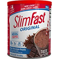 SlimFast Original Rich Chocolate Royale Meal Replacement Shake Mix – Weight Loss Powder – 31.18oz Canister – 34 servings