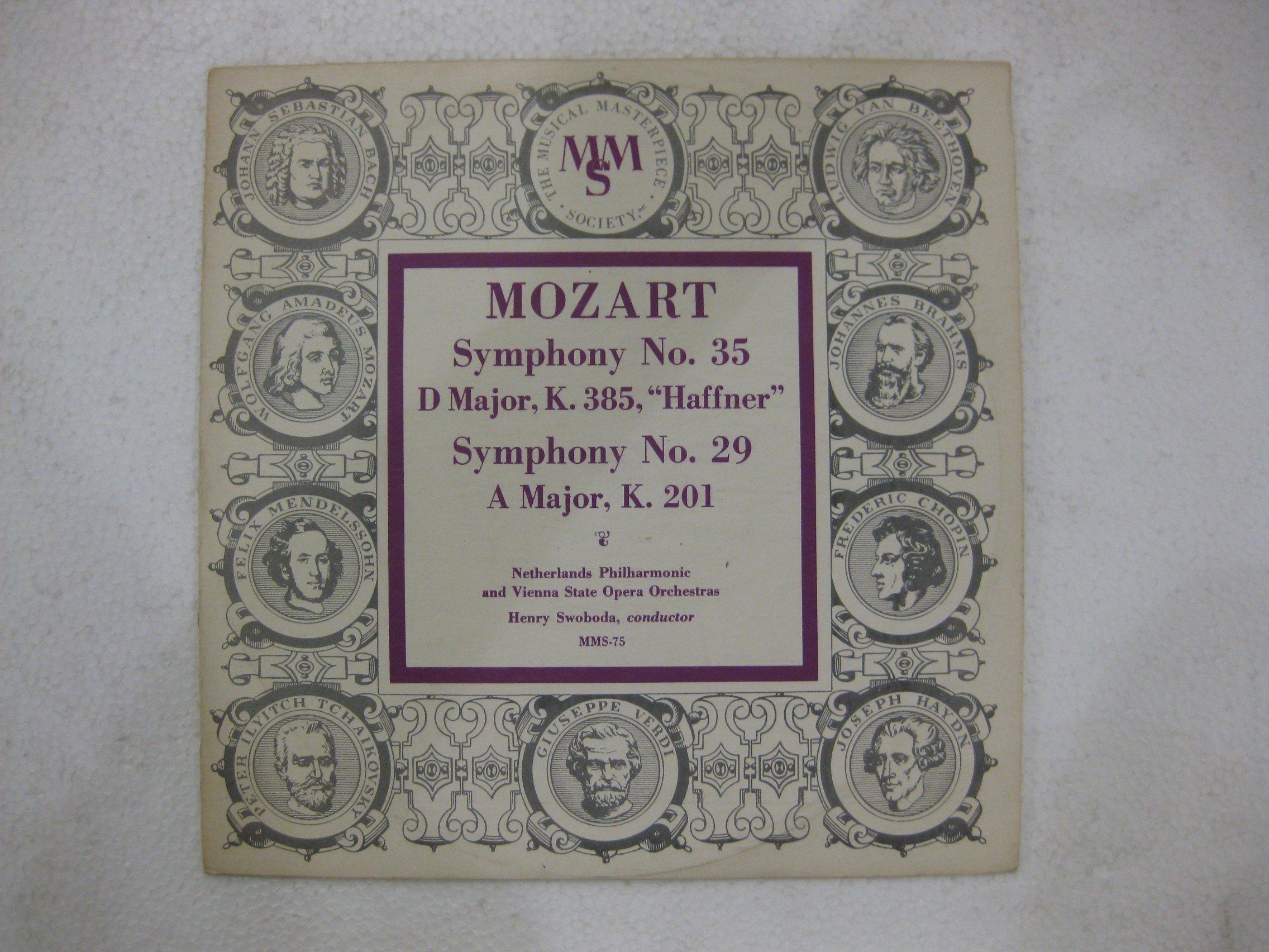 Mozart Symphony No. 35 Symphony No. 29 10 Inch Vinyl