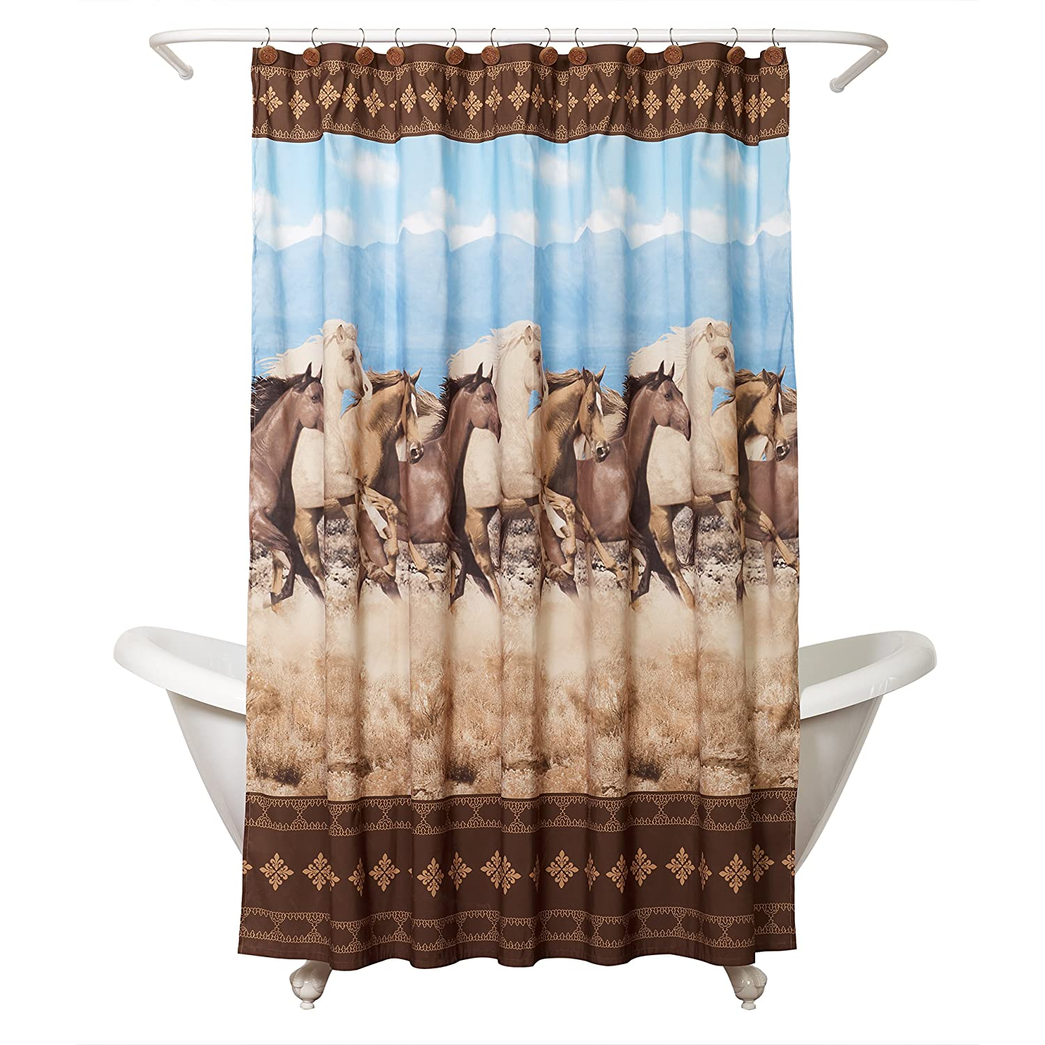 Zenna Home, Running Free Shower Curtain, Western/Horses Zenith Products Corporation 167190027Z