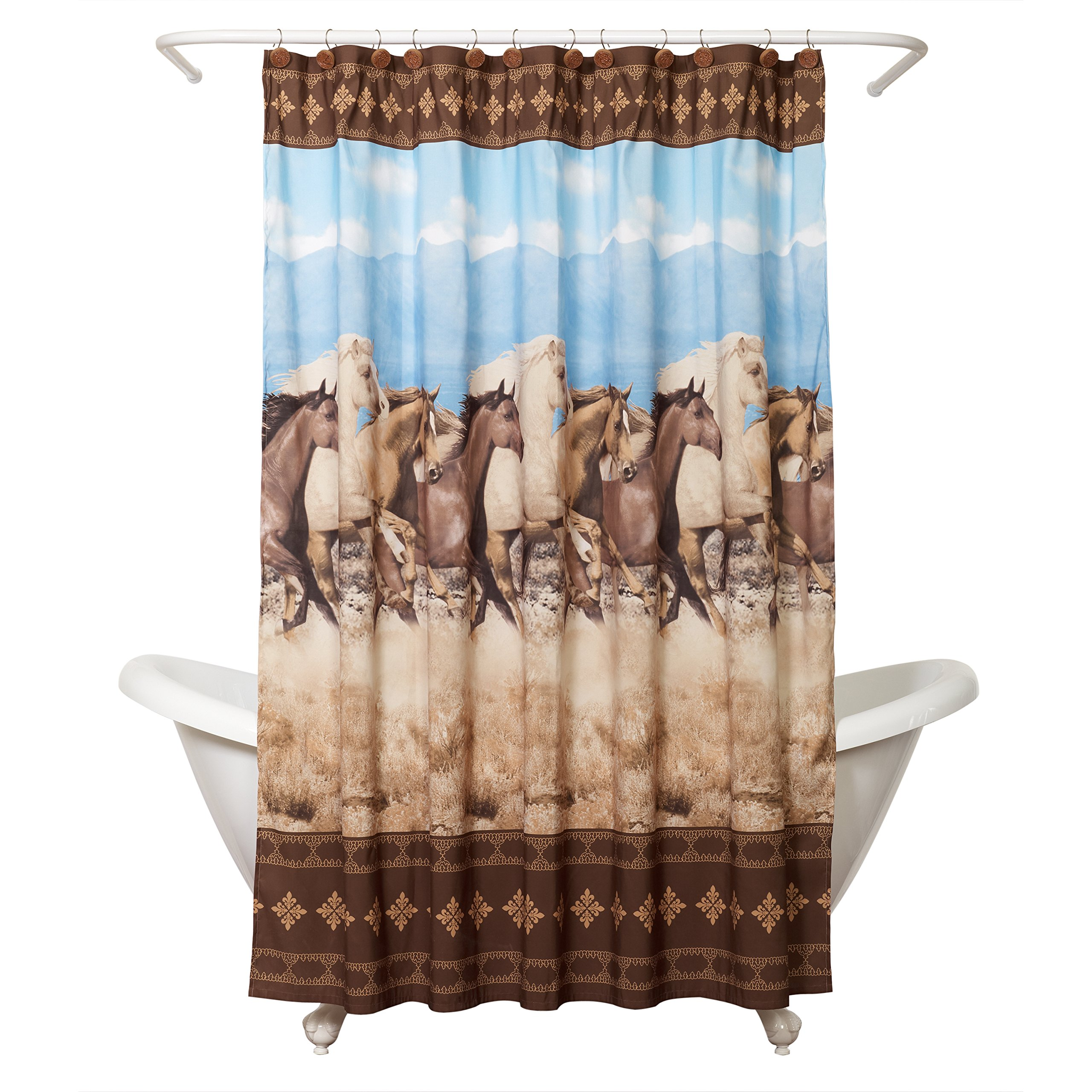 Zenna Home Running Free Shower Curtain Western Horses Brown