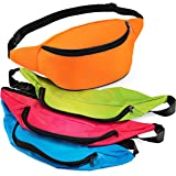 Bedwina Neon Fanny Pack Bulk - 12 Pack Adjustable Fanny Packs for Kids, Women and Men, 13 Inch Fanny Packs, Cute Fashionable