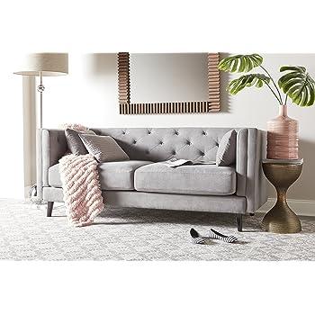 Incroyable Elle Decor Celeste Tufted Sofa, Velvet, Pearl