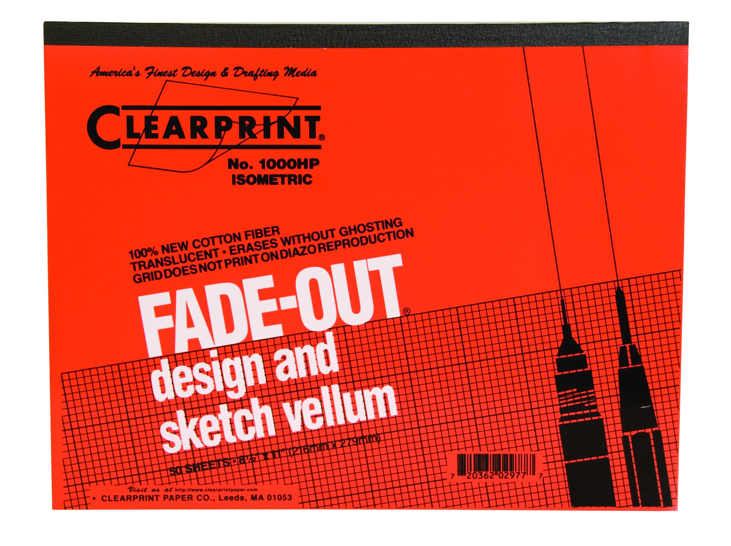 Clearprint 1000H Design Vellum Pad with Printed Fade-Out 30-Degree Isometric Grid, 16 lb, 100% Cotton, 8-1/2 x 11 Inches, 50 Sheets, 1 Each (10005410) by Clearprint