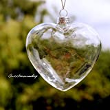 6 X Clear Heart Shape Glass Baubles Ornaments for Christmas or Wedding decorations