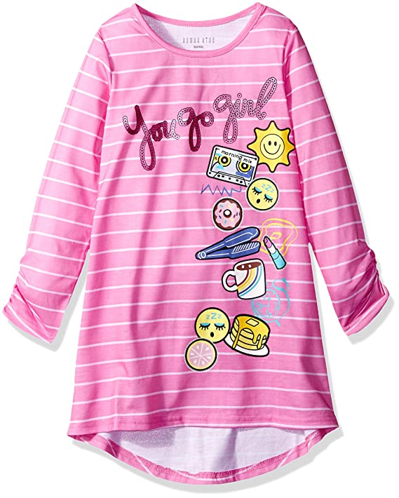 Amazon.com: Komar Kids Girls Big Printed Long Sleeve Jersey Nightgown: Clothing