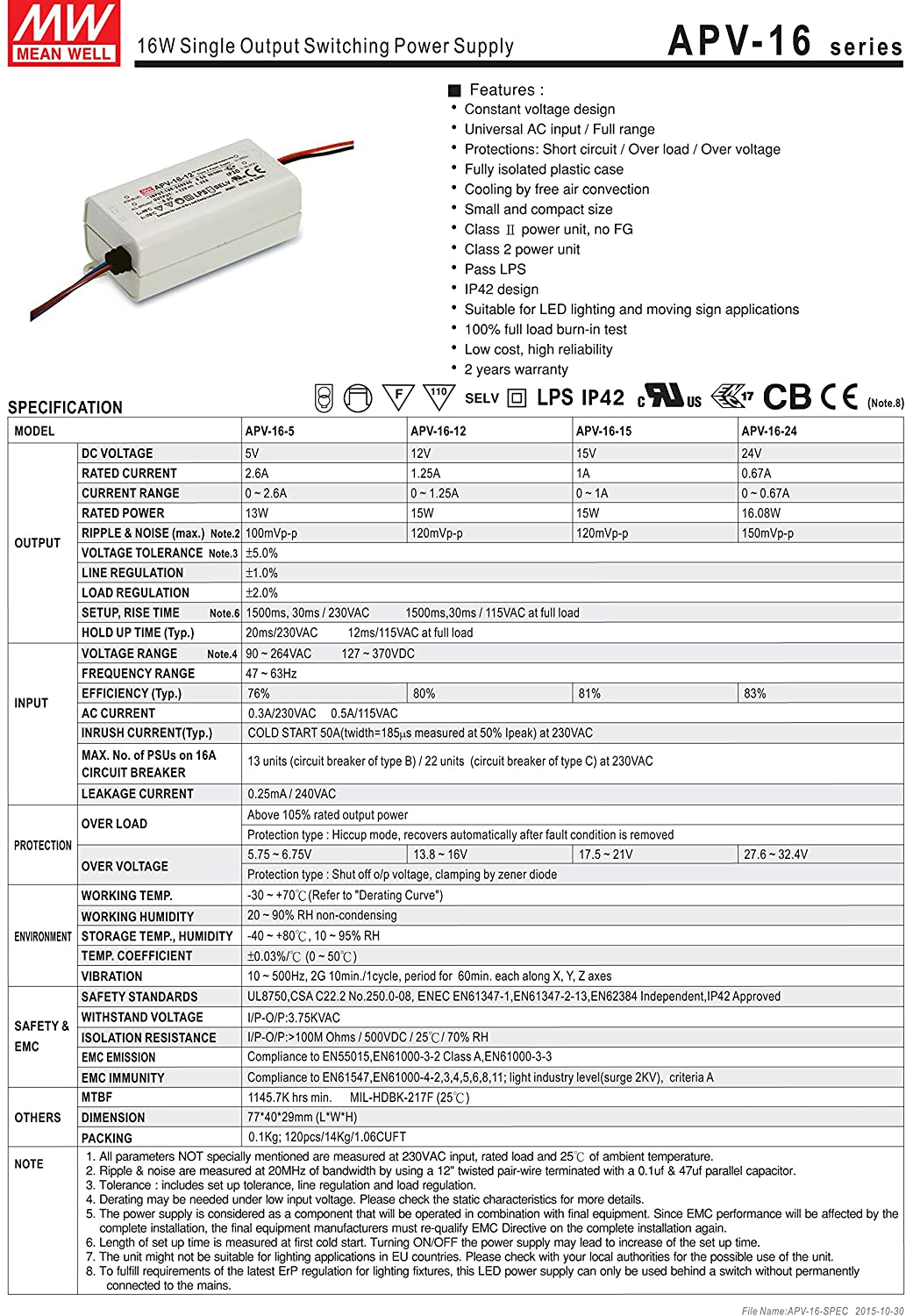 Mean Well Apv 16 12 12v 12a Power Supply Led Driver Water Dust Circuit Series File Parallel Proof Industrial Scientific