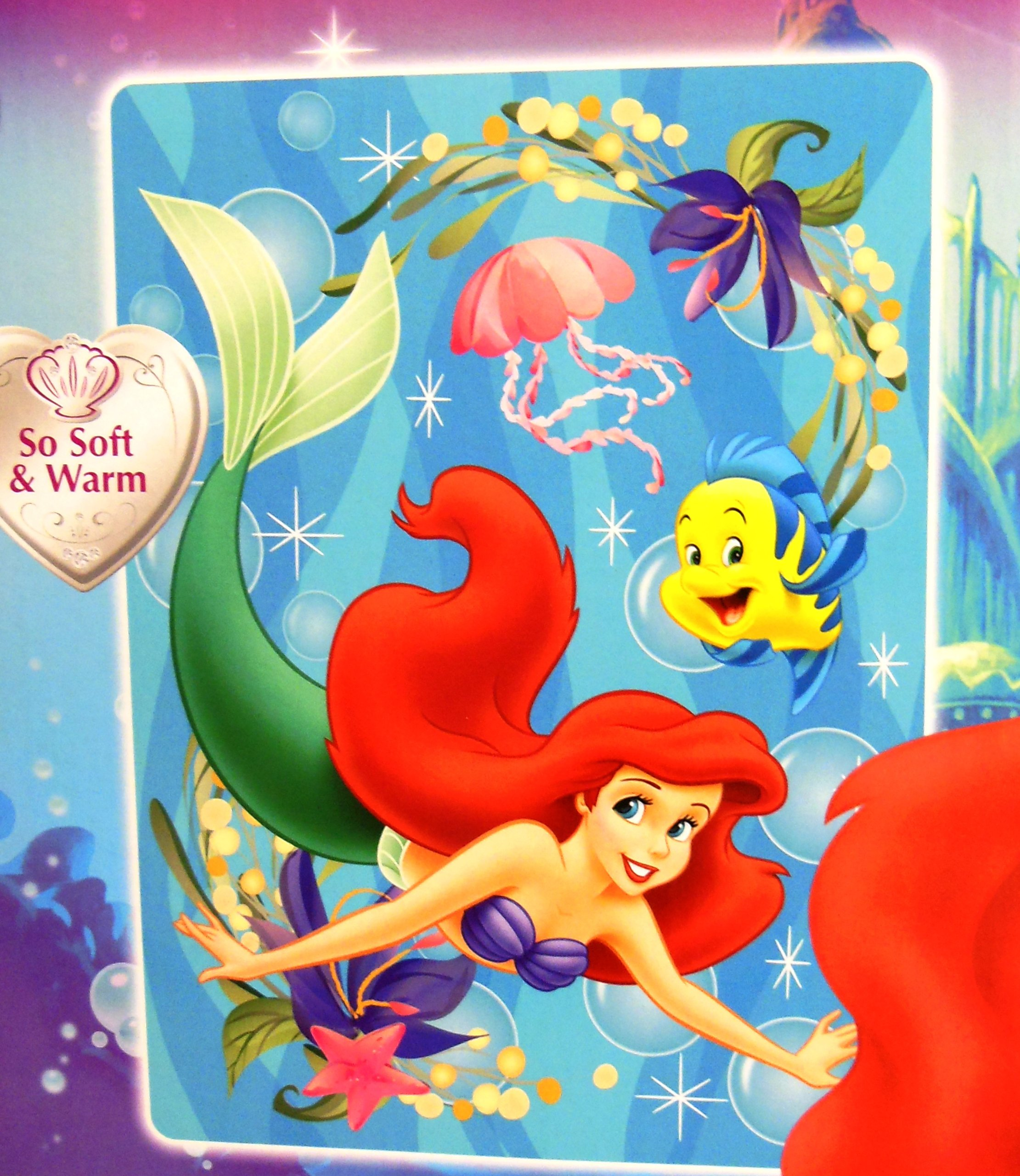 Disney Little Mermaid Twin Size Plush Blanket 60''x80''