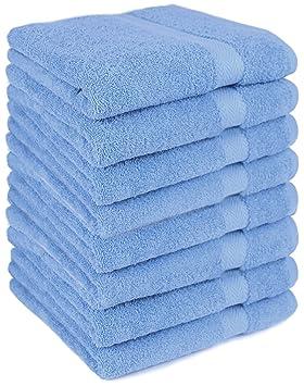 BETZ Paquete de 8 Toallas de Lavabo Premium 100% algodón tamaño 50x100 cm de Color Azul Claro: Amazon.es: Hogar