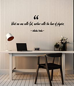 Vinyl Wall Decal Lettering Physicist Scientist Nikola Tesla Quote Stickers Mural Large Decor (g3577) Black