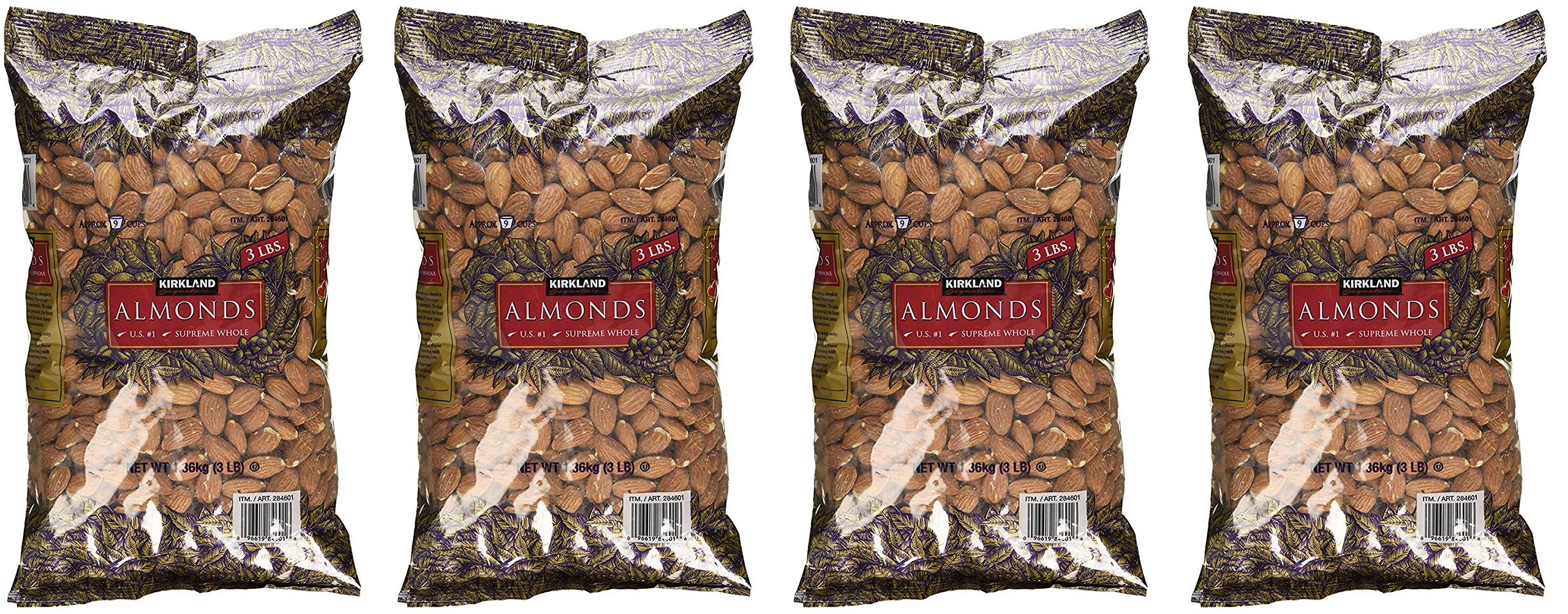 Kirkland Signature Supreme Whole Almonds, 4 Pack (3 Pounds)