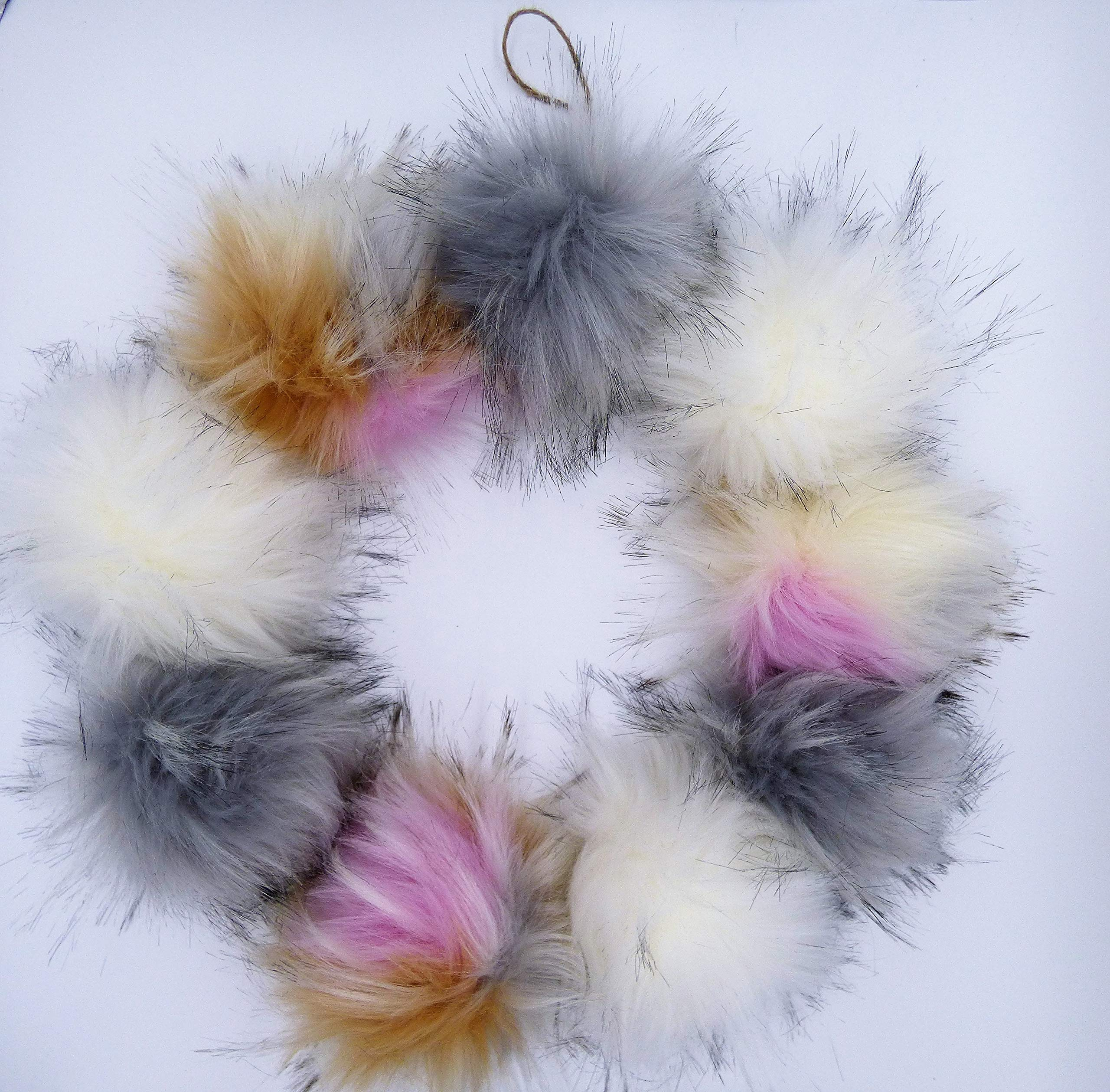 Faux Fur Pom Pom Balls | Extra Large {5-6 INCHES} Set of 3 Removable Pompoms with Snaps for Knitting Accessories | DIY Hats and Crafts | Pastel Assortment by Haven-Sent by Haven-Sent (Image #7)