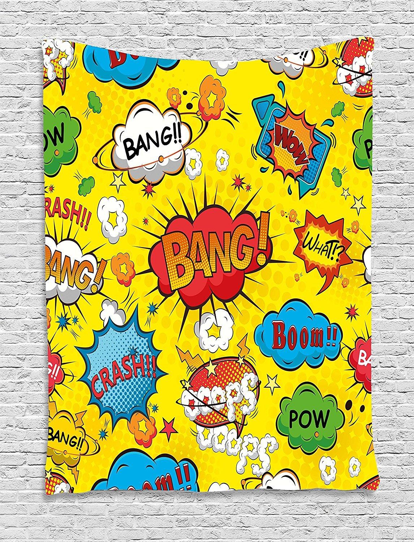 asddcdfdd Superhero Tapestry, Humor Speech Bubbles Funky Vivid Bang Boom Bam Pow Fiction Symbols Artful Design, Wall Hanging for Bedroom Living Room Dorm, 60 W X 80 L Inches, Multicolor