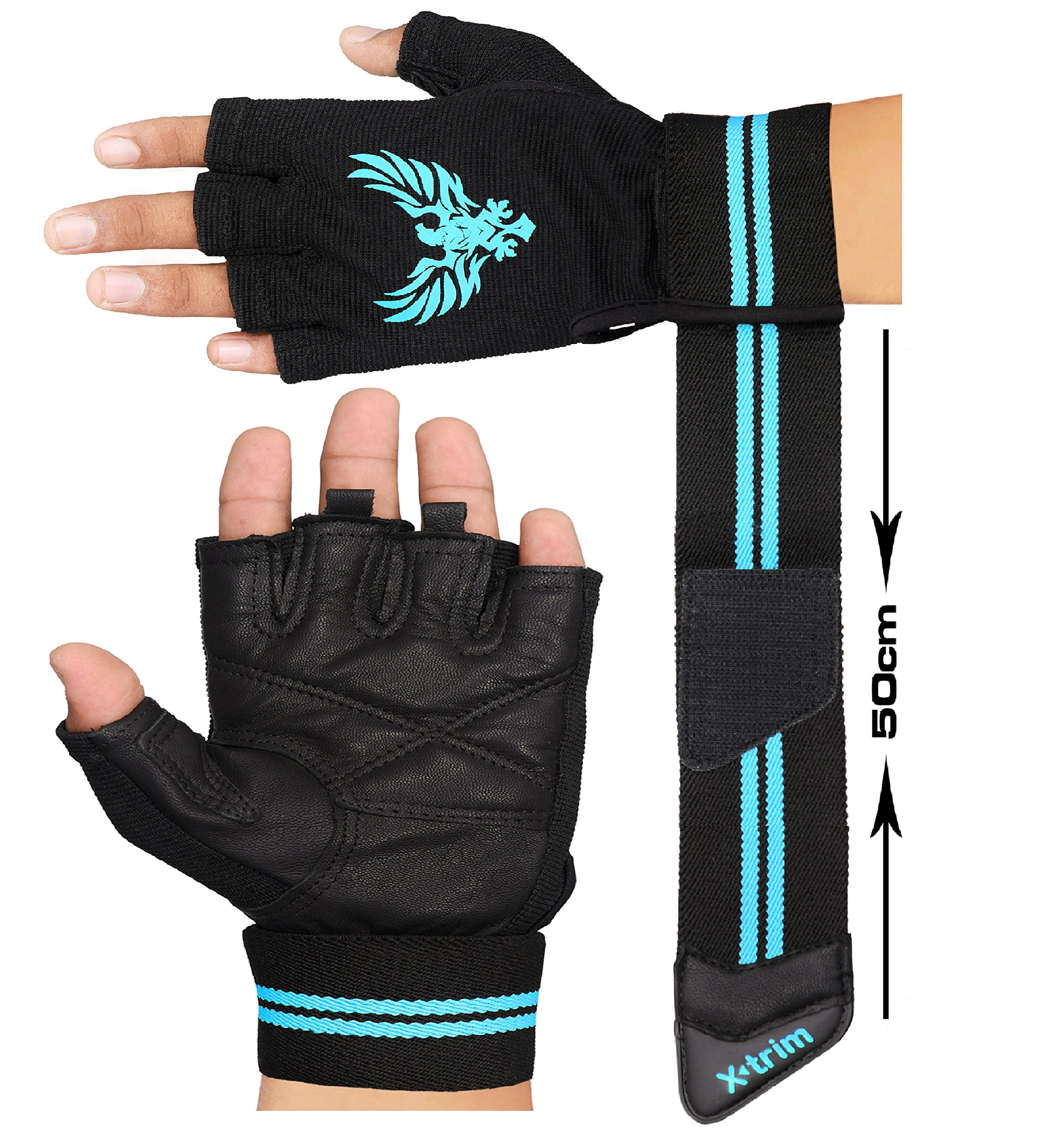 XTRIM X Macho Men's Leather Gym Workout Gloves product image