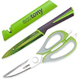 3 Piece Kitchen Shears Set with Heavy Duty Scissors, Stainless Steel Ultra Sharp Blade Utility Knife and Knife Cover with Built-in Sharpener